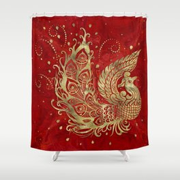 Golden Phoenix Bird on red Shower Curtain