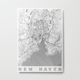New Haven Map Line Metal Print