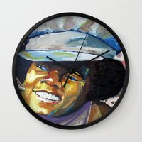 mike wrobel Wall Clocks featuring Young Mike by Monifa Charles