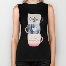 A cup of happiness Biker Tank