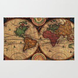 Vintage Map of The World (1730) - Stylized Rug
