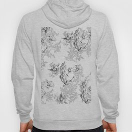 PEACOCK LILY TREE AND LEAF TOILE GRAY AND WHITE PATTERN Hoody