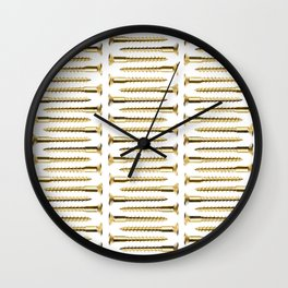 Golden Screws Pattern Poster Wall Clock