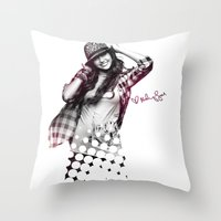 miley cyrus Throw Pillows featuring Miley Cyrus by mileyhq