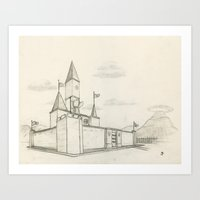 hyrule Art Prints featuring Hyrule Castle by Jordanthicus