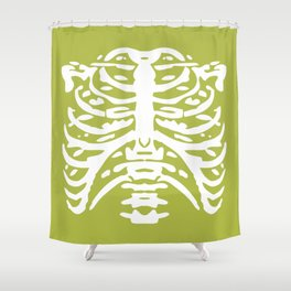Human Rib Cage Pattern Chartreuse Green 2 Shower Curtain