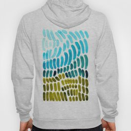 Complementary colors Blue Green Watercolor Natural Pattern Colorful Mid Century Modern Art Hoody