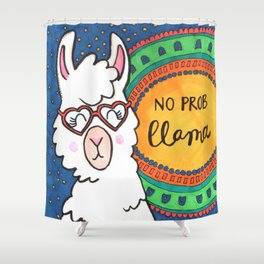 No Prob Llama Shower Curtain