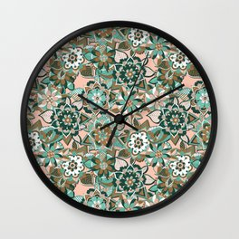 Flowers limited color palette Wall Clock