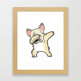 Funny Cream French Bulldog Dabbing Framed Art Print