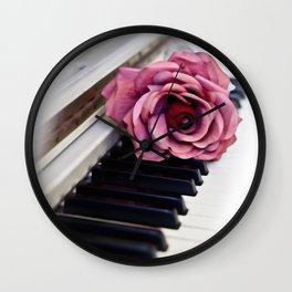 Piano Keys With Rose Wall Clock