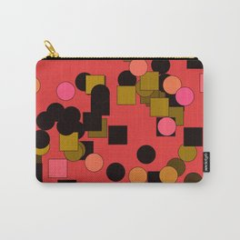 Squares and circles on a brick-colored background Carry-All Pouch