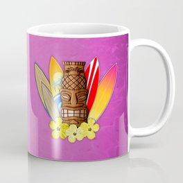 Surfboards And Tiki Mask Pink Coffee Mug