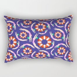 Summer Swimmers in Pink on Navy | Floats | Life Savers | pulps of wood Rectangular Pillow