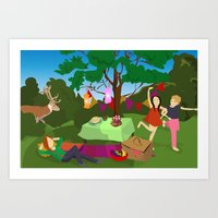 picnic with deer in the forest Art Print