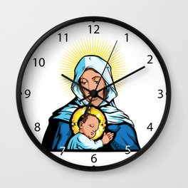 Mother Mary with Jesus Christ  Wall Clock