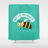 kubrick Shower Curtains featuring Full Metal Yellow Jacket by David Olenick
