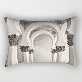 The Historic Arches in the Synagogue of Santa María la Blanca, Toledo Spain Rectangular Pillow