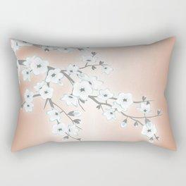 Rose Gold White Cherry Blossom Rectangular Pillow