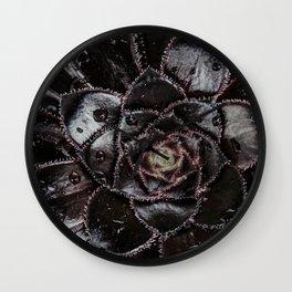 Black succulent flower Wall Clock