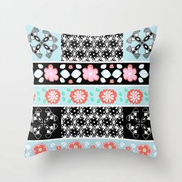 Decorative border Pattern with vivid summer flowers and black and white spectacular shapes Throw Pillow