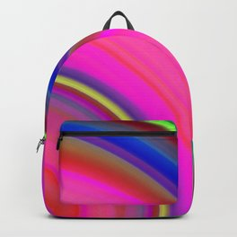 Juicy curved semicircles with a crisp pink accent and all the colors of the rainbow. Backpack