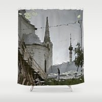russia Shower Curtains featuring Suzdal, Russia. Church Reflection by Brandon Beacon Hill
