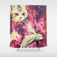 saga Shower Curtains featuring Galactic Cats Saga 2 by Carolina Nino