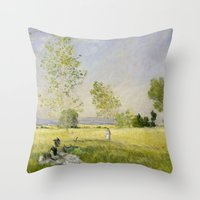 monet Throw Pillows featuring Summer by Claude Monet by Palazzo Art Gallery