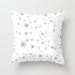 Stars silver and blush Throw Pillow