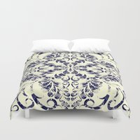blueprint Duvet Covers featuring Blueprint Flourish by wallcakes