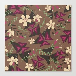 Purple Shamrock Floral Layered Pattern / Brown Canvas Print