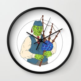 Zombie Piper Playing Bagpipes Grime Art Wall Clock