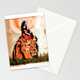 durg maa handpainted on a lion Stationery Cards