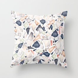 Terrazzo Soothing Earth Tones Throw Pillow