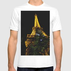 Eiffel Tower lit up at night, Paris Mens Fitted Tee MEDIUM White