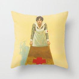 Nurse, Stretcher, Pandemic, Virus. Vintage. Retro. Illustration.  Throw Pillow