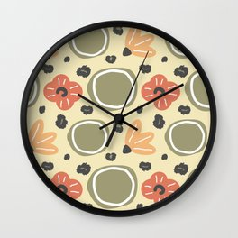 hand drawn abstract contemporary modern trendy pattern with round shapes, flowers and animal print Wall Clock