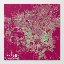 Tehran, Iran street map Canvas Print