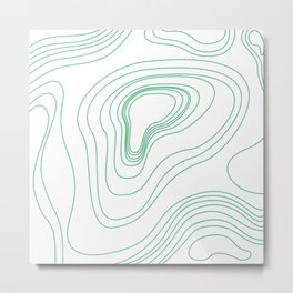 Green map lines & curves Metal Print