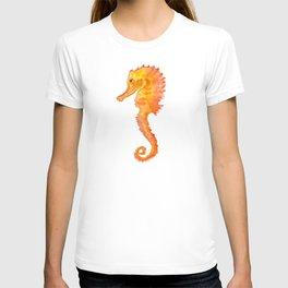 Seahorse Watercolor Painting - Orange Ocean Animal T-shirt