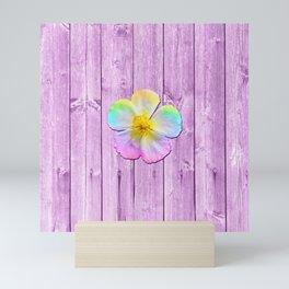 Rustic Purple Rainbow Flower Wood Panel Mini Art Print