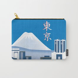 Tokyo, Japan in Kanji - Skyline Illustration by Loose Petals Carry-All Pouch