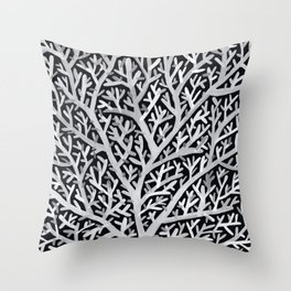 Fan Coral – White Ink on Black Throw Pillow