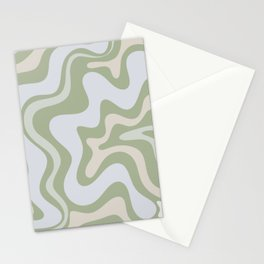 Liquid Swirl Contemporary Abstract Pattern in Light Sage Green Stationery Cards