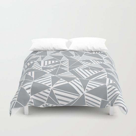 Abstract Lines B Grey Duvet Cover