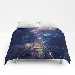 "Dream Train Tracks : ""Next Stop, Anywhere"" Comforters"