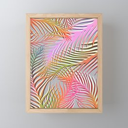 Palm Leaves Pattern - Pink, Gray, Orange Framed Mini Art Print