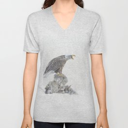 Bald eagle in winter snow Unisex V-Neck