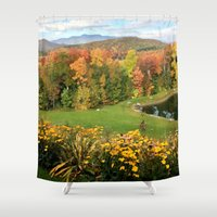 vermont Shower Curtains featuring Vermont Foliage Watercolor by Vermont Greetings